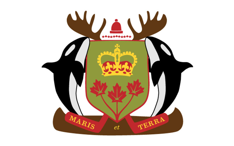 Canadian Coat of Arms with Orcas and Moose Antlers