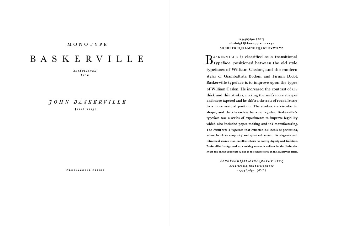3 Type Specimens - Monotype Baskerville