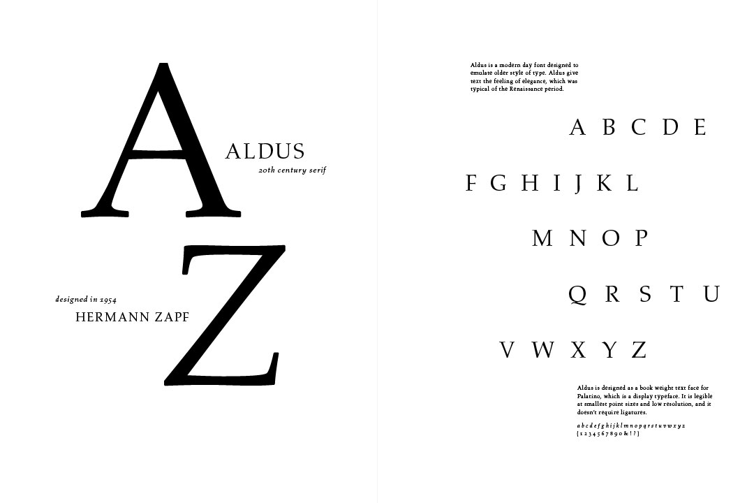 3 Type Specimens - Linotype Aldus